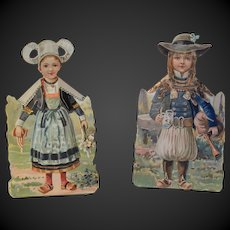 Rare Advertising  couple of French regional Paper Dolls Brittany