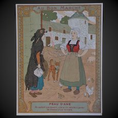 Rare 1900 bon marché  trade card  lithograph of French fairy tales