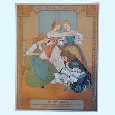 Rare 1900 bon marché  trade card Cinderella