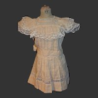Antique apron dress for jumeau or Steiner doll