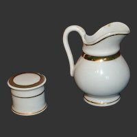 Doll's cream pot and jug 1880