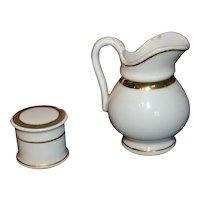 Doll's cream pot and jug 1880