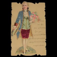 Wonderful celluloid card for the 1st of april with an enchanting Marquis