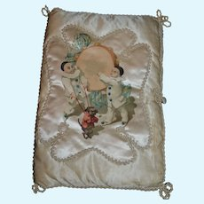 Gorgeous antique French silk  boudoir/bridal/lingerie pouch 1900/1910.
