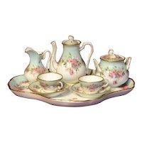Rare wonderful 2 dolls tea or coffee set in porcelaine circa 1880