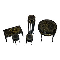 Vintage doll furniture Oriental design~black lacquer finish for your doll's house