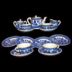 Japan white and blue glazed pottery tea set