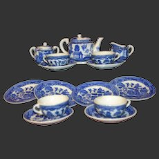 Japan white and blue glazed pottery tea set