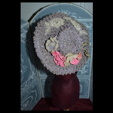 1900 Charming purple soft straw hat for doll