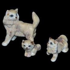 Vintage miniature cat family
