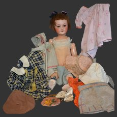 "24"" Unis France 301 doll with lovely original trousseau"