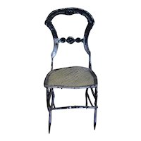 Early  soft metal  chair with caned seat for your doll's houses