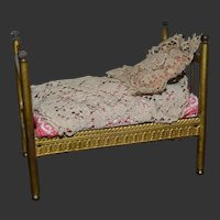 Antique  French ormolu miniature  doll house bed