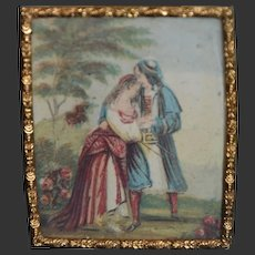 Early antique miniature gold metal frame and color engraving