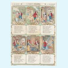 Rare 1900 bon marché trade card, children song