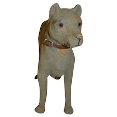 Antique French wheeled paper mache dog for your doll