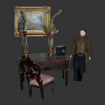 "Antique German doll house man Bisque head doll 7"""