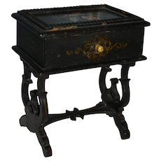 Gorgeous black lacquer French napoleon III sewing table for your doll