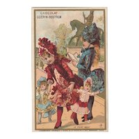 1880/1900 2 French trade cards  lithography with lovely little girls 's costume