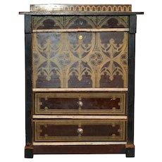 Antique doll house miniature secretary Boule Biedermeier furniture gilt design