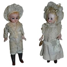 outstanding all bisque doll couple from Germany