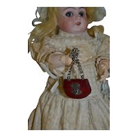 Original antique  red brown leather  chatelaine purse for your doll