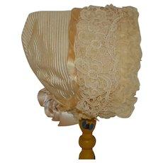 Wonderful 1900 cream silk bonnet for your doll