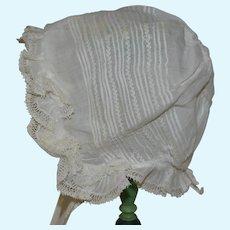Lovely cotton bonnet 1900
