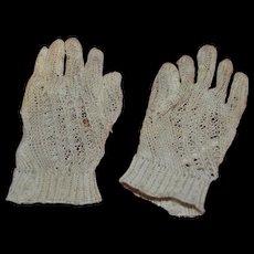 Cream Knit French Fashion Antique Miniature Gloves