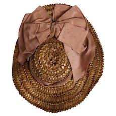 Antique straw hat for your doll circa 1880 Bru or Jumeau type