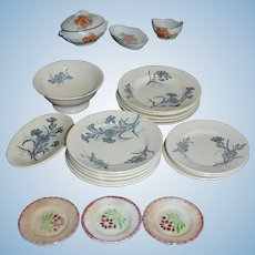 Mismatched French doll's dishes