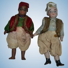 "Pair of  Turkish type dolls  ""Les Nations of Lilliputains "" From France 1890/1900"