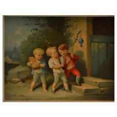 1890/1900  French colored engraving charming child scene
