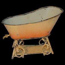 Tin twopieces doll bath tub