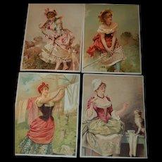Set of 4  antique  chromo lithograph