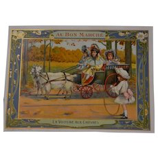 Wonderful original trade card from the bon marche Paris with girls and doll