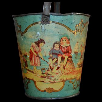 Little 1900 print tin plate kids  beach bucket