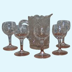 Little cabaret, limonade set, with 5 stand  glasses and water carafe