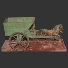 1900 Tin toys horse and wagon