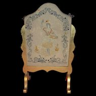 Antique 1880 gilded wood screen with needlework
