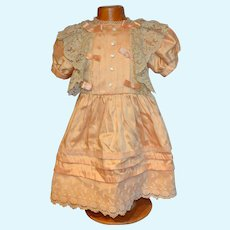Charming vintage silk  and lace dress for your doll