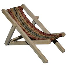 Rare tiny garden lounge chair for doll's house