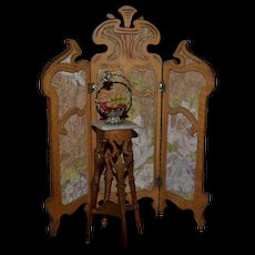 3 panels  1900 screen for your doll's house Paul leonard style
