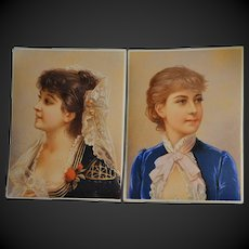 1890/1900 French colored engraving charming young lady