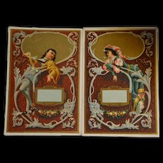 1890/1900 French colored engraving fabulous scenes for boxes