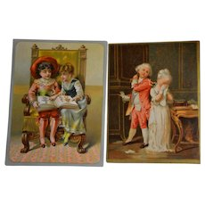 1890/1900 French colored engraving charming  child scenes for boxes or decoration