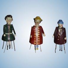 Charming ,3 small wooden bristle dolls. German, ca.1860/80.