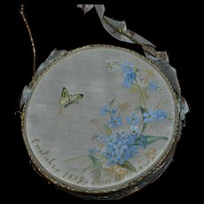 Rare and adorable  painted silk tambourine for your doll