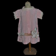 Charming 1900/1910 pink satin dress for your doll
