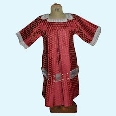Charming 1900/1910 type  dark red and gold satin dress for your doll